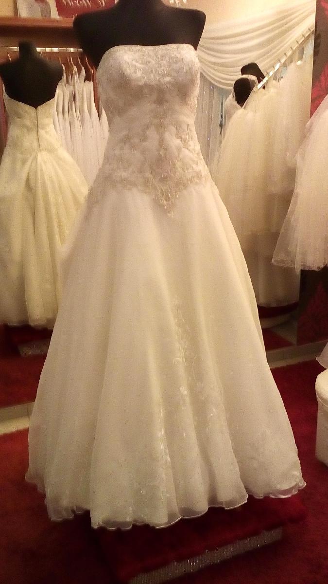Suknia ślubna Z Trenem 36 38 Ekri Włoska Używana Okazja